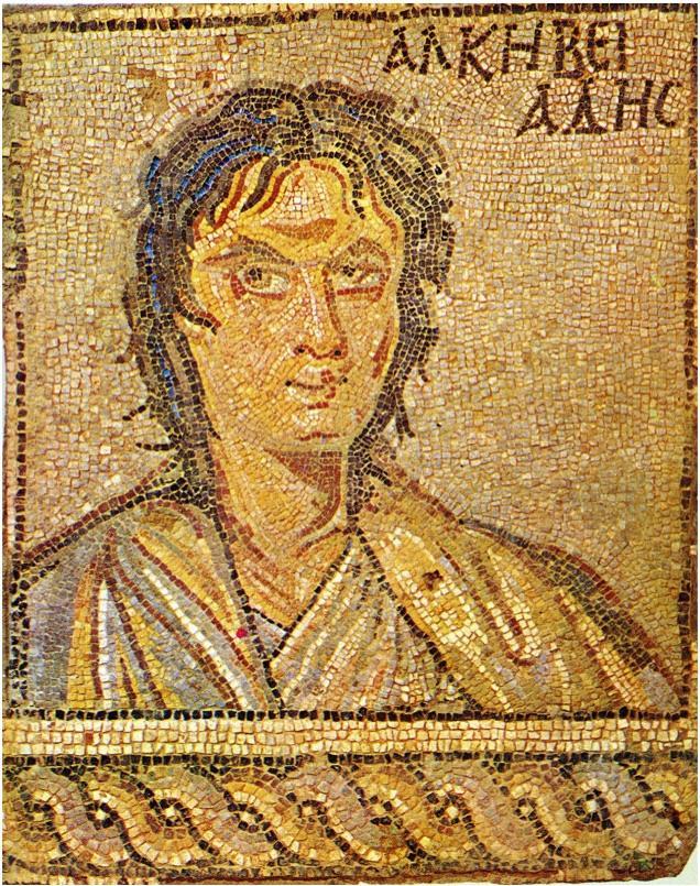 Ritratto di Alcibiade. Mosaico pavimentale, IV sec. d.C. ca. da Sparta.
