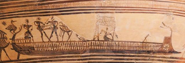 Gruppo del Pittore di New York. Una nave. Pittura vascolare dal cratere in stile geometrico. 800-775 a.C. ca., dalla Necropoli del Dipylon (Atene). New York, Metropolitan Museum of Art.