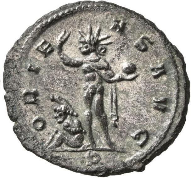 L. Domizio Aureliano. Antoniniano, Serdica, inizi 274 d.C. Æ-AR 3, 31 gr. Verso: Oriens Aug[ustus] P[ater]. Sol, radiato, stante, verso sinistra; regge nella mano sinistra un globo e la destra è alzata sopra un prigioniero ai suoi piedi.