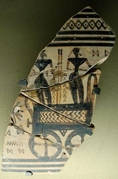 Maestro del Dípylon. Un carro da guerra dal frammento di un cratere attico in stile tardo geometricco, 725-720 a.C. dalla Necropoli del Ceramico. Musée du Louvre.