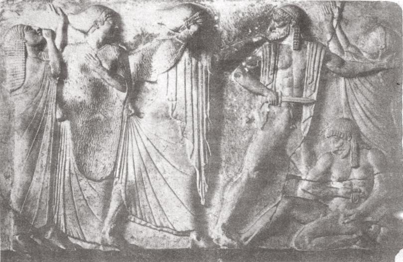Oreste uccide Egisto e Clitemnestra. Bassorilievo, inizi I sec. d.C. c. da Ariccia. Copenhagen, Ny Carlsberg Glyptotek