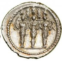 P. Accoleio Lariscolo. Roma, Denario, 41 a.C. AR. 3,95 gr. Verso - Statua cultuale della 'diva triformis', con cipressi, papavero e giglio