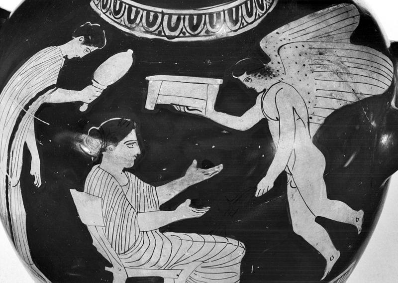 Pittore Cassel. Scena di toeletta femminile con Eros. Pittura vascolare da una kalpis a figure rosse, 440 a.C. Walters Museum of Art