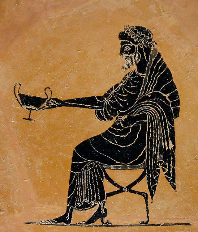 Pittore Psiatte. Dioniso assiso con un kantharos. Pittura vascolare dall'interno di un kylix attica a figure nere, 520-500 a.C. ca. da Vulci
