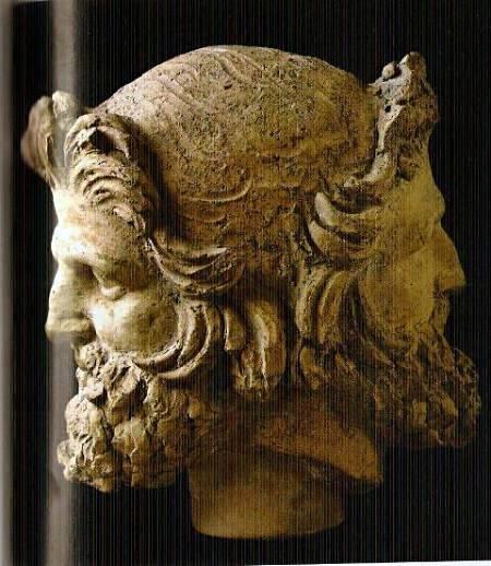 Testa di Giano Bifronte. Terracotta, II secolo a.C. da Vulci. Museo di Villa Giulia
