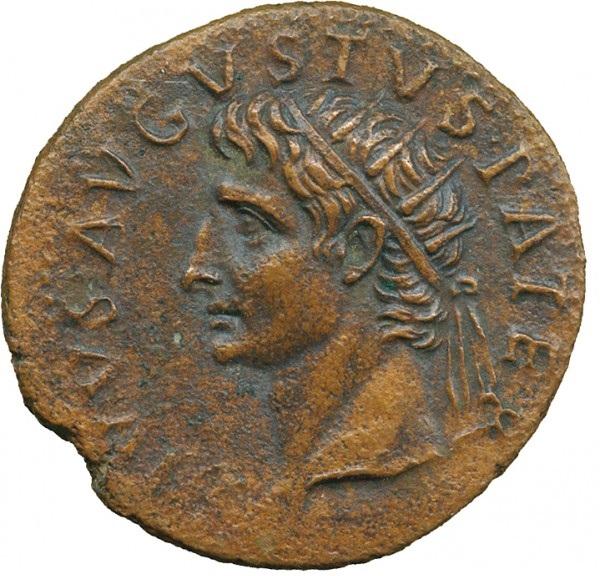 Tib. Claudio Nerone Cesare Augusto. Asse, Roma, 22 d.C., AE 10,89 g. R: Divus Augustus Pater. Testa radiata del Divo Augusto, voltata a sinistra.