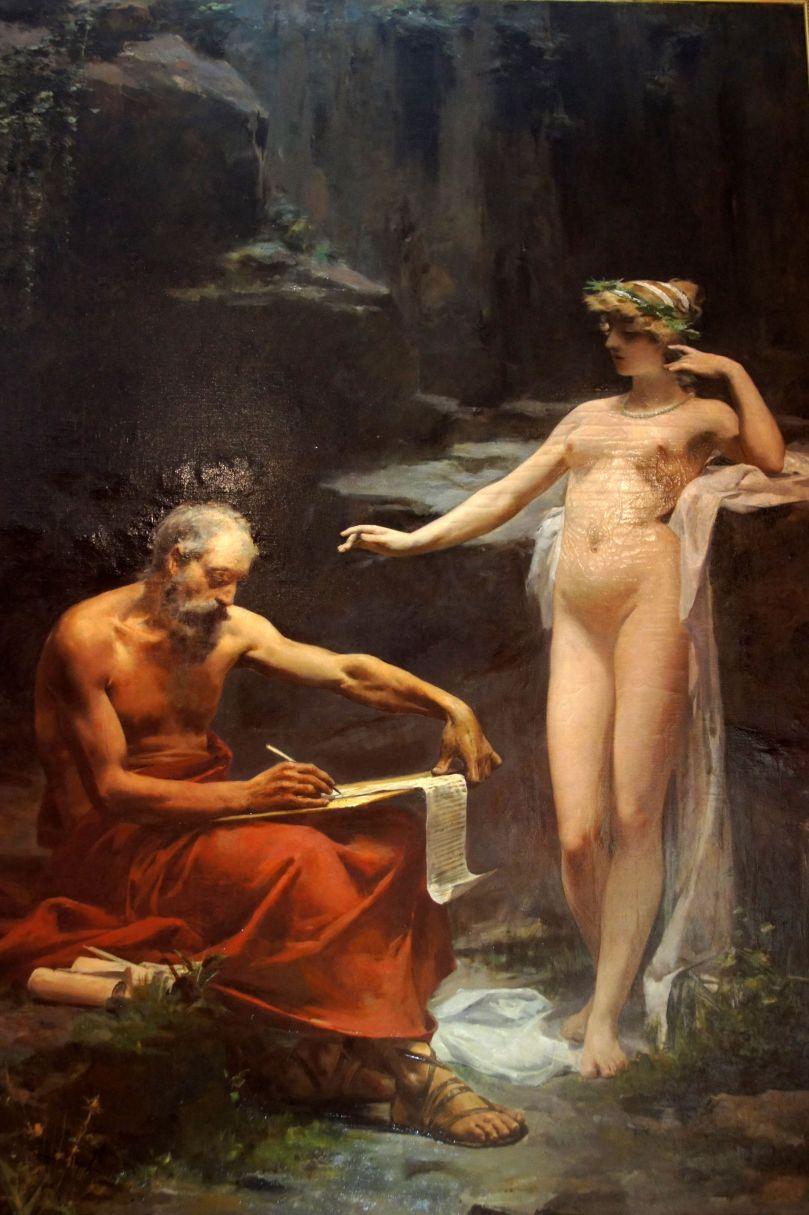 Ulpiano Checa, La ninfa Egeria detta a Numa le leggi di Roma. Olio su tela, 1886.