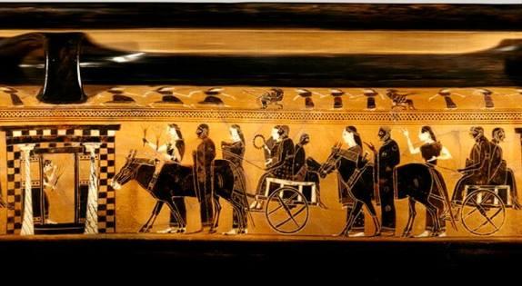 Pittore di Amasis. Scena con corteo matrimoniale (dettaglio). Lekythos a figure nere, 550 a.C. New York, Metropolitan Museum of Art