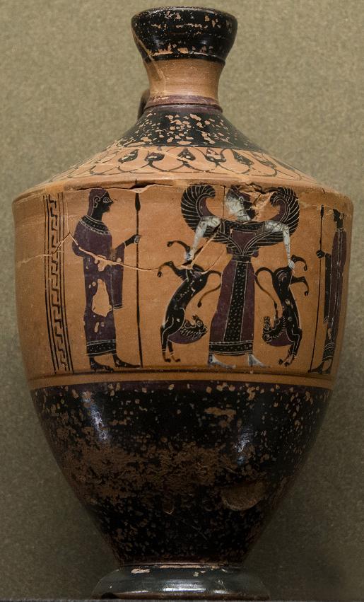 Pittore di Amasis. Artemide Potnia Theron ('Signora degli animali') attorniata da due uomini armati di lancia. Lekythos a figure nere, 560-550 a.C., da Atene. Paris, Musée du Louvre