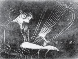 Pittore di Saffo. La poetessa intenta a suonare la lira. Hydria attica decorata con 'tecnica di Six', 500-490 a.C. Goluchow, Museo Czartoryski
