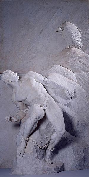 Reinhold Begas, Prometheus. Statua, marmo di Carrara, 1900. Berlin, Akademie der Künste