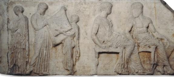 Scuola di Fidia. Scena della processione panatenaica. Marmo pentelico, 438-432 a.C. dal frontone est del Partenone. British Museum.