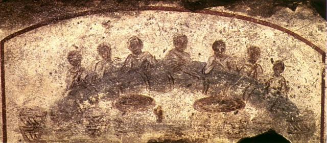 Banchetto agapico-eucaristico. Affresco, dalle Catacombe di Callisto (Roma)