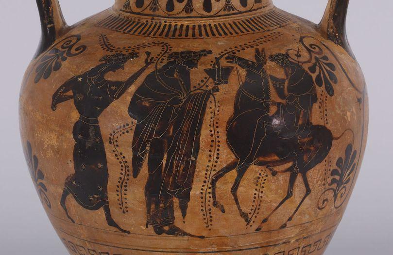 Antimene il pittore. Dioniso su un asino. Anfora attica a figure nere, 520 a.C. ca. Baltimore, Walters Art Museum.