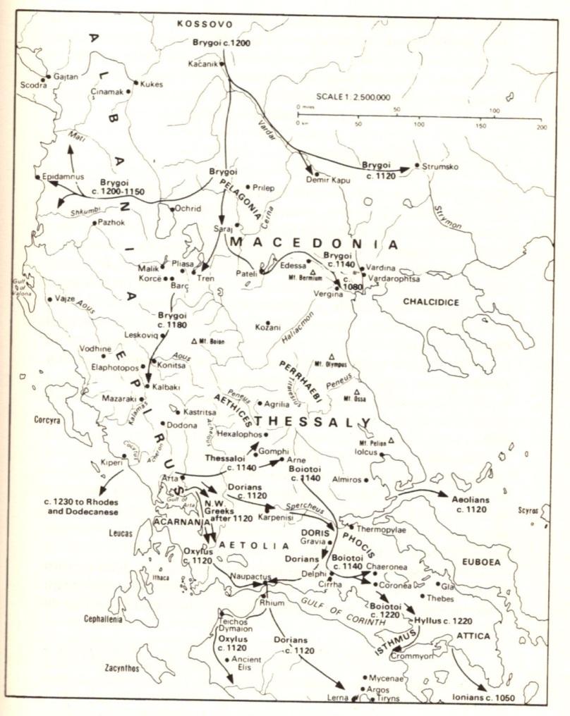 La situazione nel Tardo Elladico III, da HAMMOND N.G.L., Migrations and Invasions in Greece and Adjacent Areas, New York 1976, p. 142