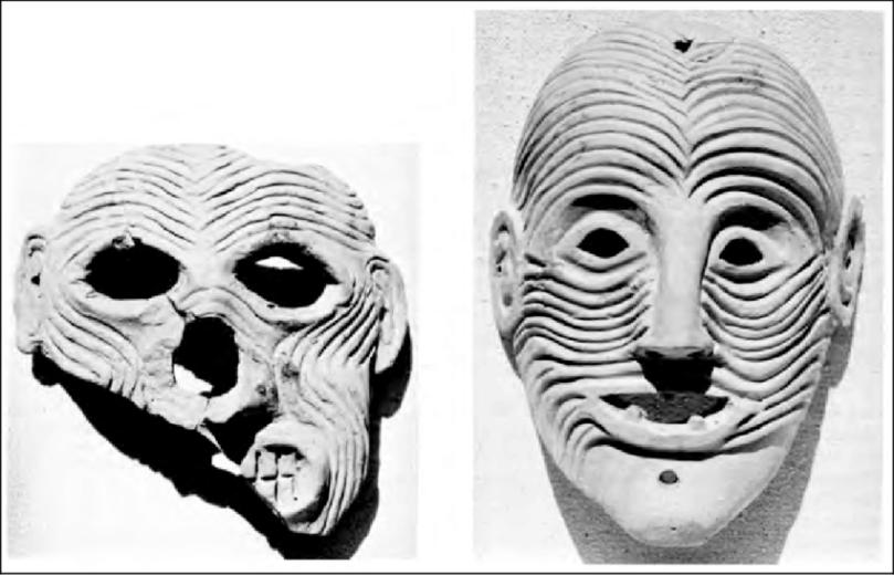 Maschere. Terracotta, VII sec. a.C. dal Santuario di Artemide Orthia a Sparta. London, British Museum