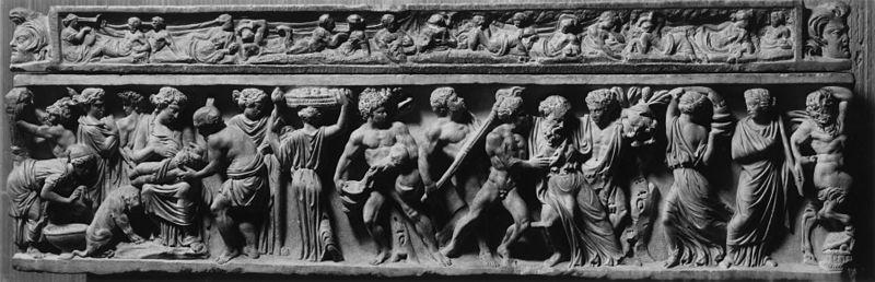 Sarcofago dell'Infanzia. La nascita di Bacco. Bassorilievo in marmo tasio, 150-160 d.C. Baltimore, Walters Art Museum.