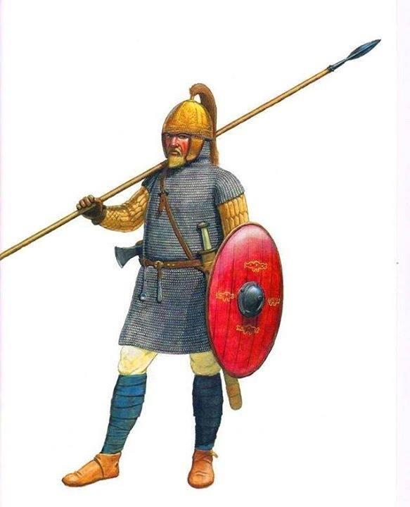 Ricostruzione di un guerriero visigoto. Illustrazione di A. Gagelmann.