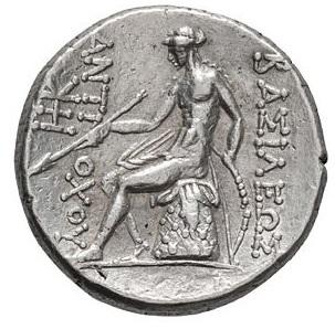 Antioco III. Tetradramma, Asia Minore 213-204 a.C. Ar. 17,01 gr. R – ΒΑΣΙΛΕΩΣ.ΑΝΤΙΟΧΟΥ, Apollo seduto sull'omphalos, con arco e freccia.