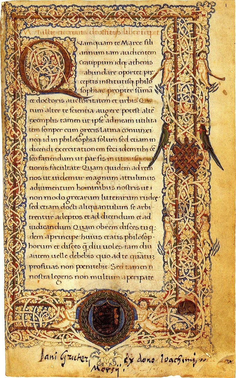 Vaticano, BAV. Ms. Pal. lat. 1534 (XV sec.), Ciceronis de officiis, f. 1r..jpg