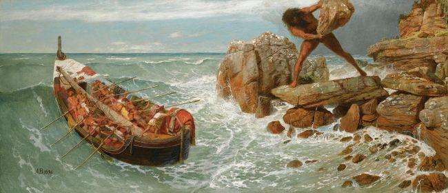 Arnold Böcklin, Odisseo e Polifemo. Olio su tela, 1896