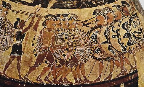 L'«Olpe Chigi». Particolare: due falangi oplitiche che si affrontano. Pittura vascolare da un olpe tardo-corinzio a figure nere e policrome. 630 a.C. ca., da Veio. Roma, Museo Nazionale Etrusco di Villa Giulia.