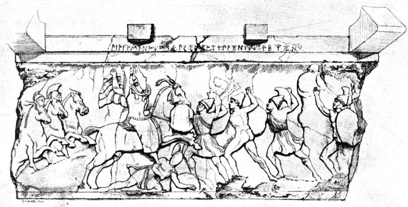 Combattimento tra cavalieri e fanti. Rilievo, pietra locale, 375-360 a.C. c. dal sarcofago della Tomba di Payava, da Xanthos, Lycia. London, British Museum