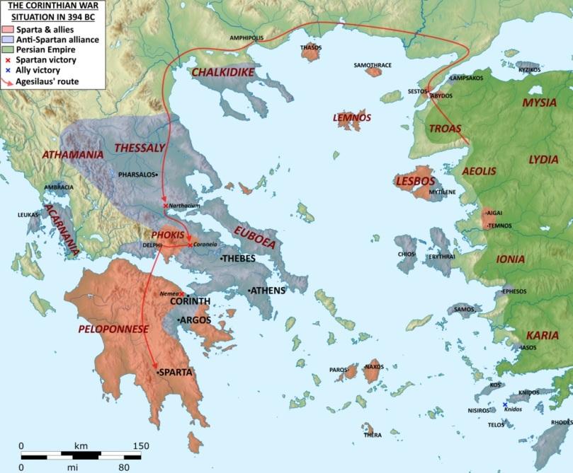 Il mondo greco nel 394 a.C. durante la Guerra di Corinto
