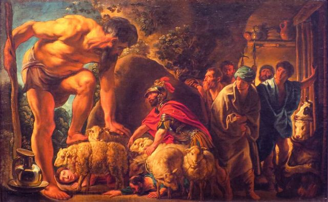 Jacob Jordaens, Odisseo nella caverna di Polifemo. Olio su tela, 1635. Mosca, Pushkin Museum.