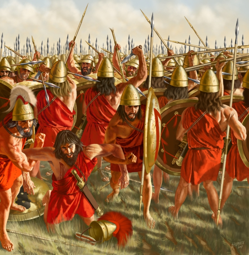 Battaglia di Leuttra. Illustrazione di J. Shumate.