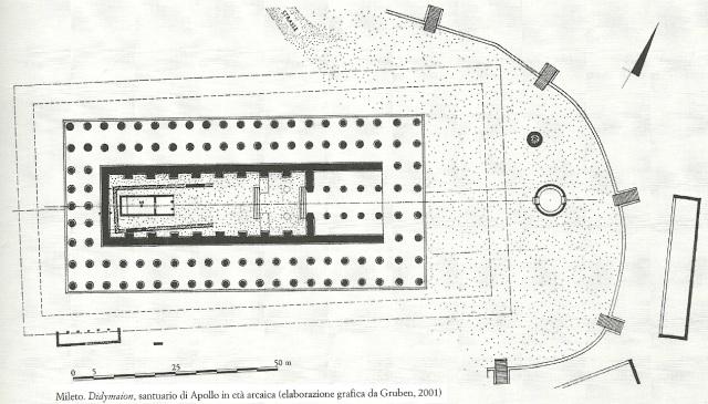 Mileto. Didymaion, santuario di Apollo in età arcaica (elaborazione grafica da Gruben, 2001).