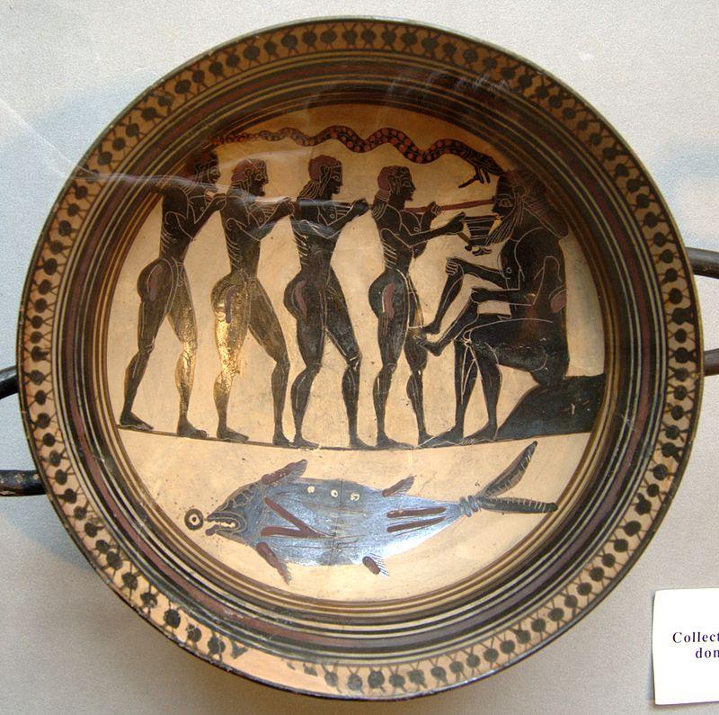 Pittore anonimo. Odisseo e compagni accecano Polifemo. Coppa laconica a figure nere, 565-560 a.C. ca. Paris, Cabinet des Medailles.