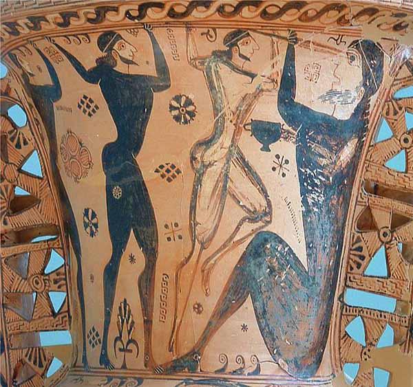 Pittore di Polifemo, La cosiddetta Anfora di Eleusi. Dettaglio: l l'accecamento di Polifemo. Pittura vascolare a figure nere, 660 a.C. ca. Eleusi, Museo Archeologico.