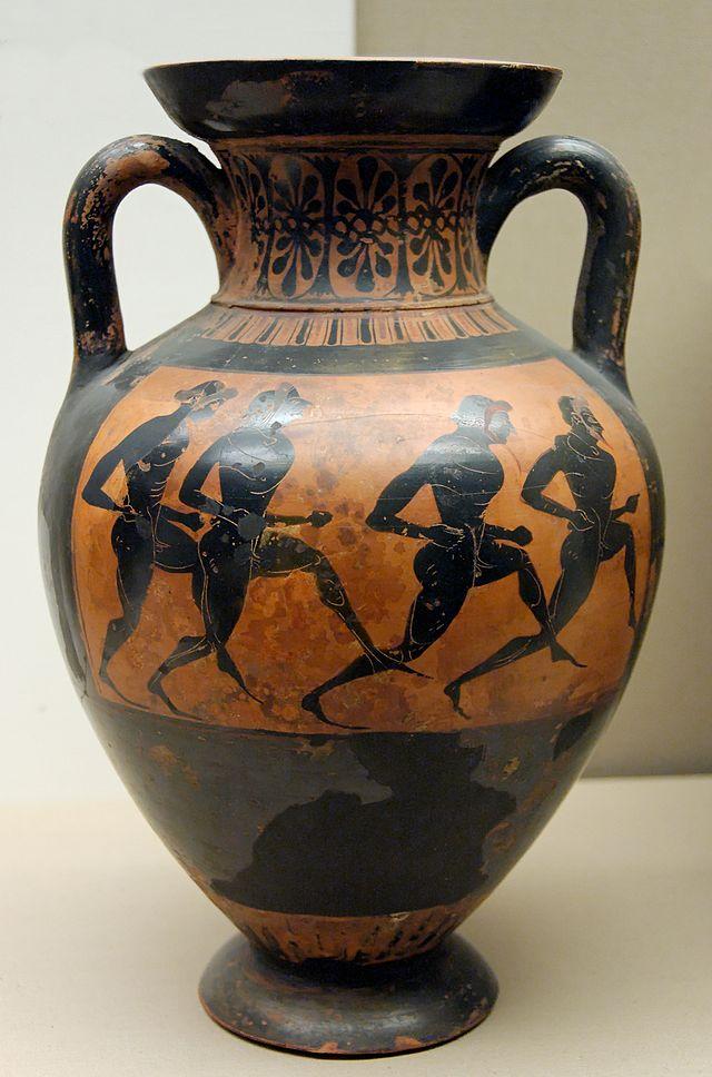 Pittore Eufileto. Corsa a piedi con quattro atleti. Pittura vascolare da un'anfora panatenaica a figure nere, fine VI sec. a.C. ca., dall'Italia meridionale. London, British Museum.