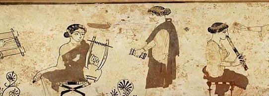 Pyxis attica a figure rosse. Opera attribuita al pittore Esiodo. Il pastore Tamiri e le Muse, 460-450 a.C. ca. Boston, Museum of Fine Arts.