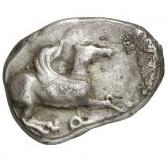 Corinto. Statere, 450-415 a.C. ca. AR 8, 46 gr. Pegaso, simbolo della città, rivolto a destra.