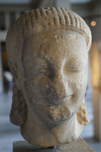 Kouros. Testa, marmo, VI sec. a.C. ca. da Samo. Istanbul, Arkeoloji Muzesi.