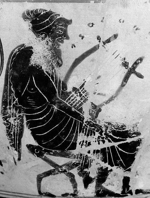 Autore anonimo. Un aedo canta accompagnandosi alla lira. Pittura vascolare su kyklix attica a figure nere, 515 a.C. ca. Wisconsin, Chazen Museum of Art