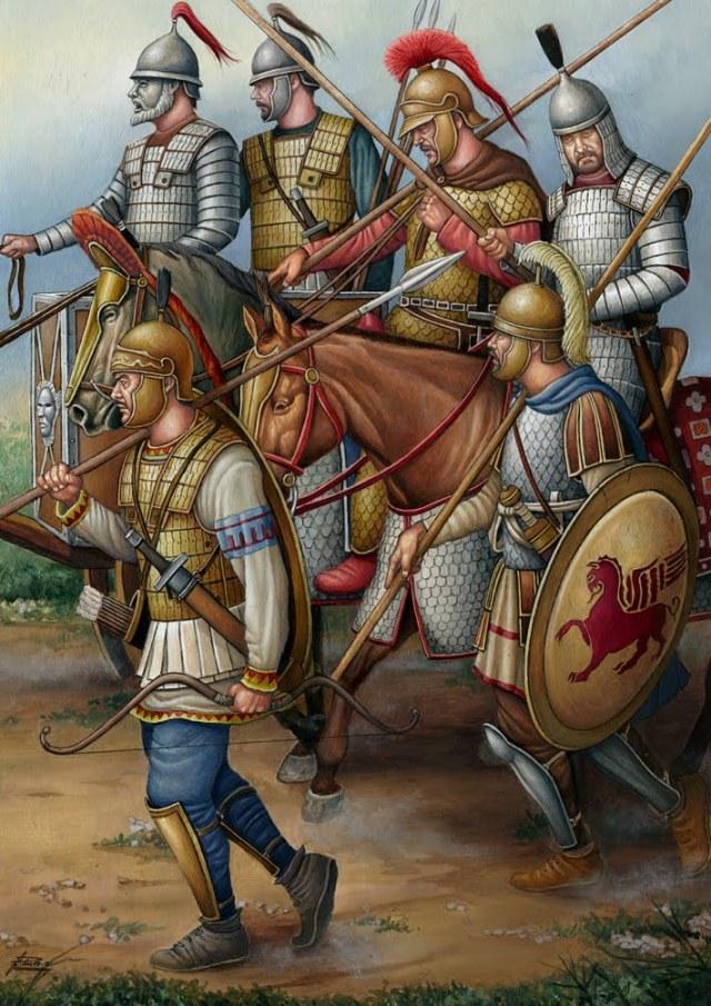 Soldati di Mitridate VI del Ponto. Illustrazione di Á. García Pinto.