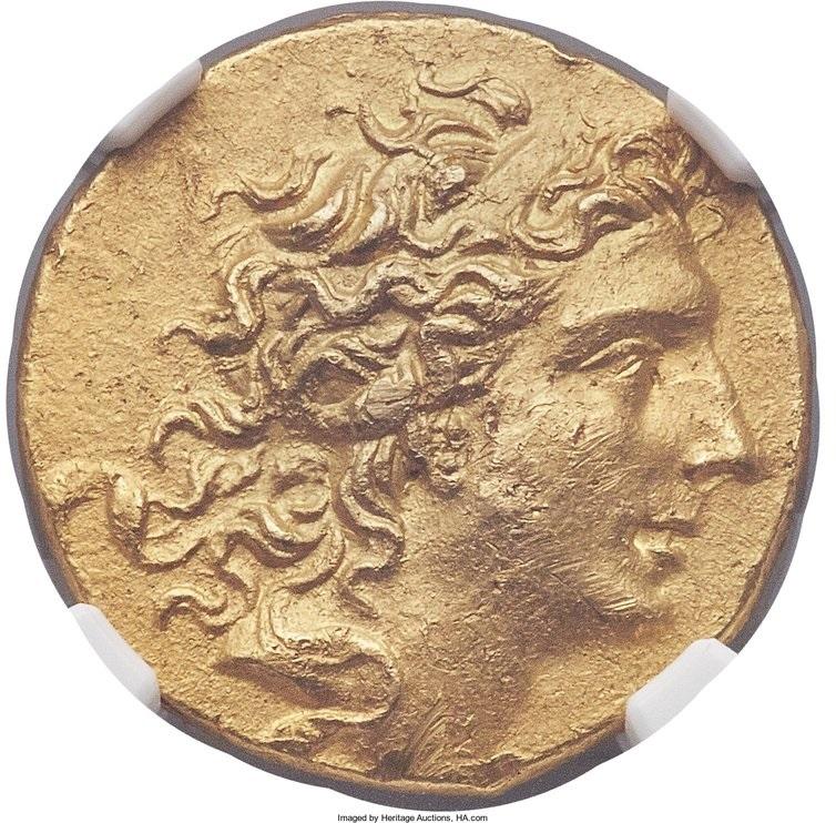 Mitridate VI Eupatore. Statere, Pergamo 88-87 a.C. Au. 8, 45 gr. Recto: testa diademata, voltata a destra del sovrano.