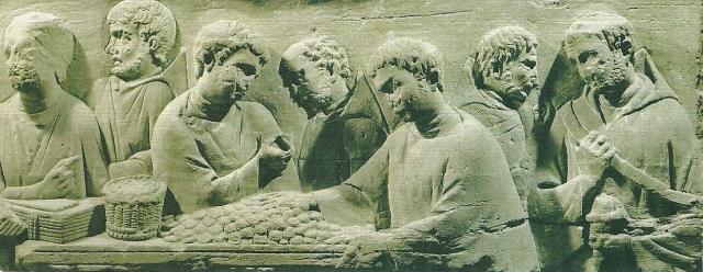 Scena di pagamento delle imposte. Rilievo, calcare, fine II sec. d.C. da Neumagen. Trier, Rheinisches Landesmuseum