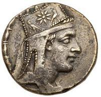 Tigrane II d'Armenia. Tetradramma, Tigranocerta 80-68 a.C. c., AR 15, 31 gr. Recto: Busto diademato e drappeggiato del sovrano; la tiara è decorata con una stella fra due aquile.