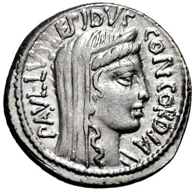 L. Emilio Lepido Paolo. Denario, Roma 62 a.C. Ar. 3,90 gr. Dritto: Paullus Lepidus - Concordia. Testa di Concordia con diadema e velo, verso destra.