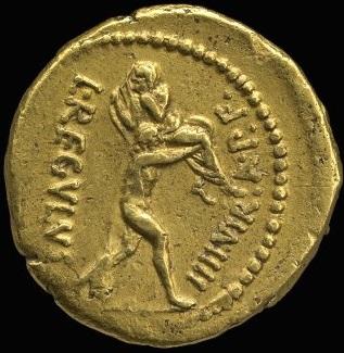 L. Livineio Regolo. Aureo, Roma, 42 a.C. Au 8, 26 gr. Rovescio: L(ucius) Regulus IIIIvir a(uro) p(ublico) f(eriundo). Enea, voltato a destra, portante Anchise sulla spalla sinistra.