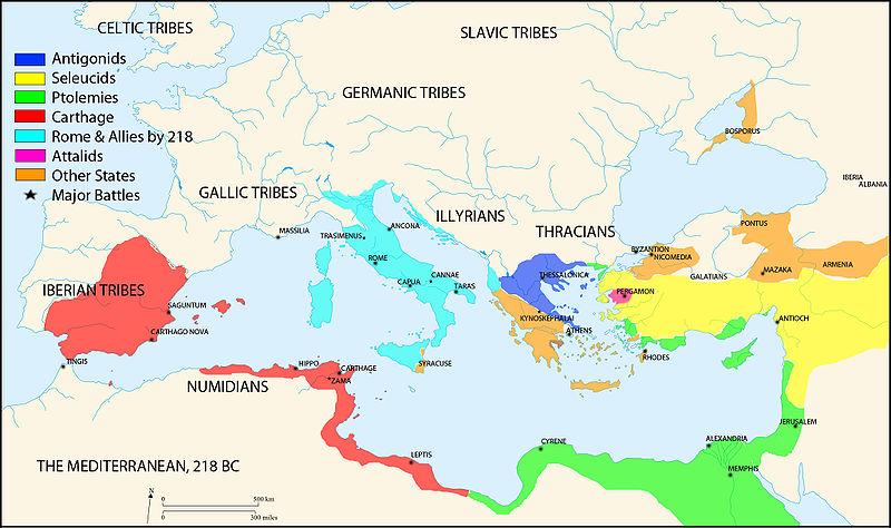 Il Mediterraneo intorno al 218 a.C. ca.