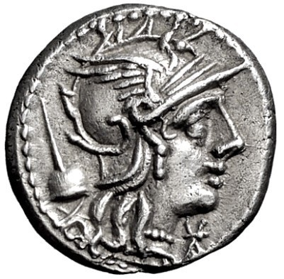 T. Quinzio Flaminino. Denario, Roma 126 a.C. Ar. 3,85 gr. Dritto: Testa di Roma elmata verso destra.