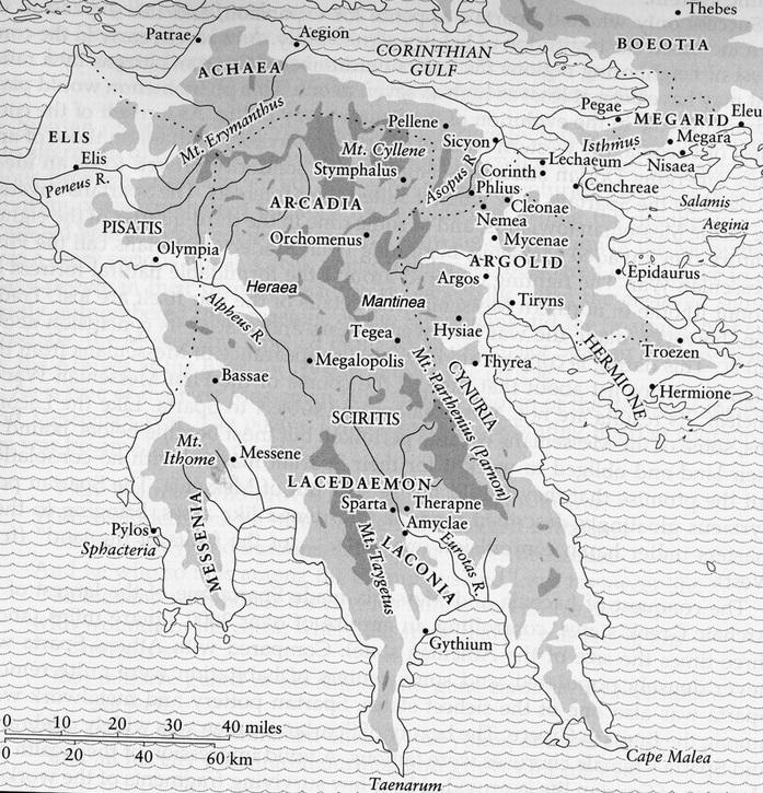 Mappa del Peloponneso