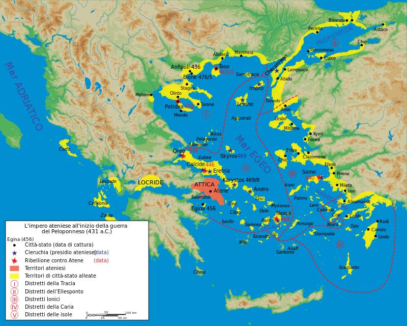 Mappa dell'impero ateniese all'inizio della Guerra del Peloponneso (431 a.C.).