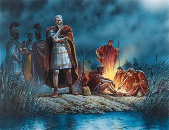 Cesare decide di attraversare il Rubicone. Illustrazione di P. Dennis.