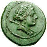 Capua. Semiuncia, 216-211 a.C. Æ 6, 48 gr. Recto: Busto diademato di Giunone, voltato a destra.
